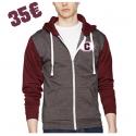 Sweat-shirt à capuche zippé Retro maroon & gris souris