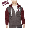 Sweat-shirt à capuche zippé Retro maroon & gris souris