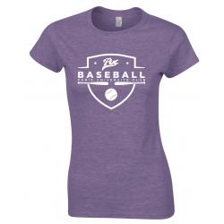 "T-shirt femme mauve ""chiné"" PUC baseball"