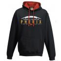 Sweat-shirt capuche contrasté noir et rouge des Phenix de Limoges